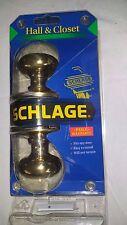 New Schlage Brass Hall And Closet Non Locking Door Knob Set Model P513-500