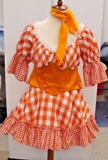Women Orange Gingham Check Cow Girl Costume Farm Hand Fancy Dress Country Rodeo