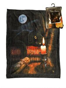 New Lisa Parker The Witching Hour Plush Fleece Throw Gift Blanket Black Cat Art