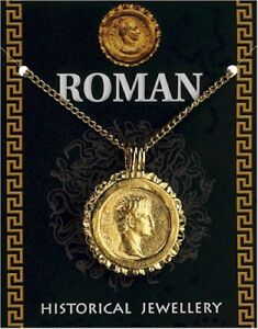 Roman Caesar Gold Plated Gold Coin Flan Pendant On A Chain