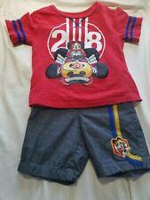 Disney Mickey Mouse Racer Boy Short Sleeve T Shirt, Shorts Outfit Set Size 4