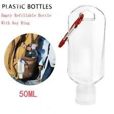 50ml Empty Refillable Bottle With Key Ring Travel Transparent Hook Bottles New