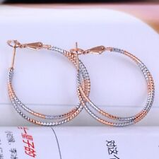 double hoop twisted rope hoop earrings Double 18k rose gold & white gold