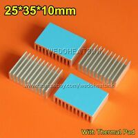 10pcs 25x35x10mm Heat Sink Aluminum Heatsink For 1W 3W LED With Blue Thermal Pad