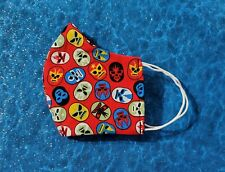 New listing Washable Handmade Fabric Face Mask filter pocket Mexican Wrestling Nacho Libre