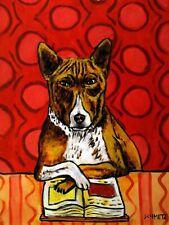 Basenji Dog art Print 13x19 impressionism dog art Print reading