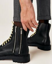 ZARA BLACK GENUINE LEATHER BOOTS WITH TRACK SOLES UK9 EU43