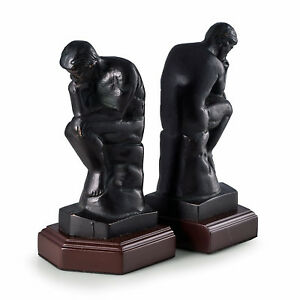 "BOOKENDS - ""THE THINKER"" BOOKENDS - BRONZED FINISH METAL ON WOOD STAND BOOKENDS"