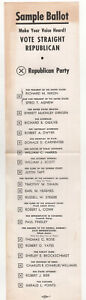 1968 RICHARD NIXON Illinois SAMPLE BALLOT Ev Dirksen RICHARD OGILVIE Political