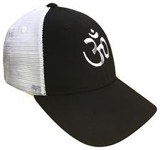 Sacred Om Symbol Black & White Mid Profile Mesh Golf Trucker Cap Caps Hat Hats