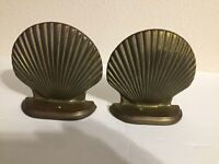 VINTAGE SOLID BRASS  SHELL-CLAM  BOOK ENDS ~HEAVY~ NICE QUALITY~ BOOKENDS