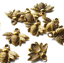 10 x 21mm Gold tone Metal Honey/Bumble Bee Charms Pendant, Insect Animal, Craft