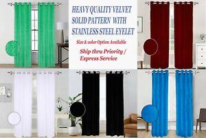 2Pc Solid Grommet Panel Room Darkening Velvet Curtain Drapes many size & color