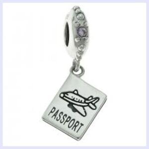 Sterling Silver Travel Passport Dangle Pink CZ Bead for European Charm Bracelet