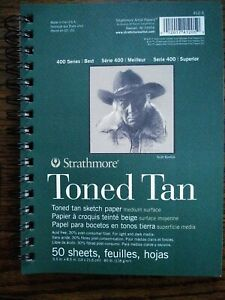 """Strathmore Toned Tan Spiral Sketch Book 400 Series Best, 5.5""""X8.5"""", 50 Sheets."""
