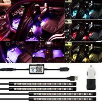 4x RGB LED Innenraumbeleuchtung Fußraumbeleuchtung Autodekoration Streifen-Licht