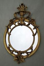 Wandspiegel Antik Rund Gold 56x36 Badspiegel Repro Flurspiegel Barock spiegel