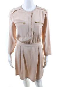 Theory Womens Silk Long Sleeve Sheath Dress Pink 6
