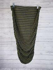 Splendid Womens Skirt Sz Large Green Blue Striped Ruched