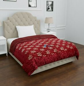 Jaipuri Razai Red Silk Elephant Printed Blanket Quilted Throw Quilt Comforter