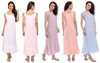 Womens Sleeveless Victorian Style Nightgown Long Sleepwear Cotton Nightdress