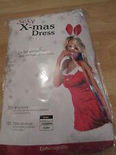 Sexy X-mas Dress Kleid + Haarreifen mit Hasenohren Rot Weiß Einheitsgröße Samt