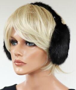 Mink Earmuffs Fur Earmuffs Head Warm Winter Mink Classic Design Black