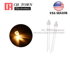 100pcs 2mm LED Diodes Water Clear Warm White Light Round Top Transparent USA