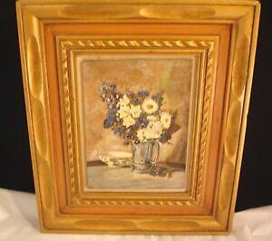 Floral Oil Painting On Wood Signed A.H.M.R. AHMR Carved Wooden Frame Vintage