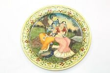 Natural Stone white marble Painted Plate God Krishna Radha Home Decorative Gift