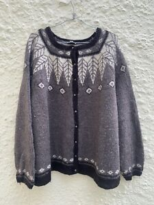 J.Jill Women Icelandic Wool Blend Crew Neck Knit Cardigan Size 4X#43