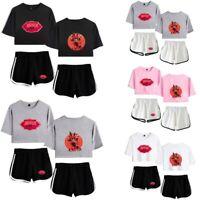 2Pcs Womens Hazbin Hotel Print Crop Top T-shirt+Shorts Loungewear Co Set Outfits