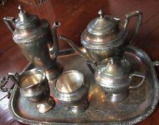 Crescent SILVER PLATE 6 PC SET TEA/COFFEE POT Sugar CREAMER & Tray *