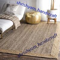 Natural Jute Rectangle Weave Rug Area Rug Floor Carpet Handmade Jute Rug Braided
