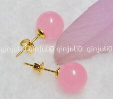 Pretty 10mm Jewelry Natural Pink Jade Gemstone Ball Gold Stud Earrings
