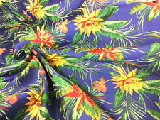 Chinese Brocade Fabric Floral Tropical Royal Blue Yellow Emerald Green Red