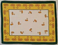 VINTAGE AUTHENTIC  EASTER ART SWANS PRINT YELLOW GREEN COTTON KITCHEN TEA TOWEL