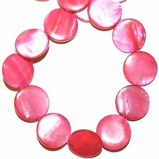 """MPX1955L 10-Strands Bright Pink Mother of Pearl 20mm Flat Round Shell Beads 16"""""""