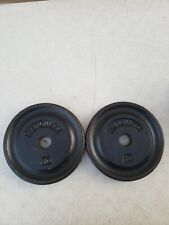 """Vintage 10lb Hercules York Barbell Weight Plates 1"""" standard size 10 lb weights"""