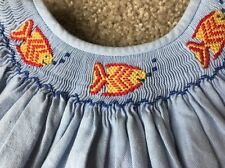 Silly Goose Smocked Dress Sz 5 Chambray Fish Angel Sleeves Blue Yellow Red EUC!