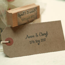 Personalised Wedding Favours names heart rubber stamp