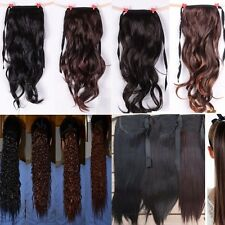 Clip In Ponytail Pony Tail Hair Extensions Piece Wavy straight Bun Corn Style