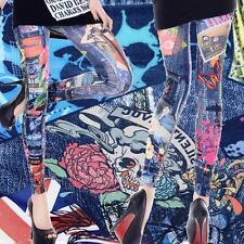 Quality Fashion Graffiti Style Blue Leggings Stretch Pants One Size 9249