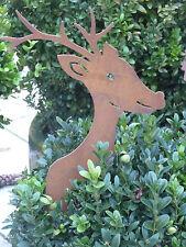 Edelrost Rentier Spieß zum stecken Weihnachten Advent Dekoration Garten Busch