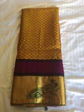 Indian Kanjipuram Golden & Green Silk saree With Peacock Border Wedding Saree