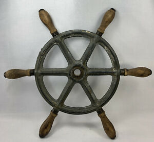 """Antique 15.5"""" 6 Handle Nautical Wooden & Cast iron  Ships Boat Steering Wheel"""