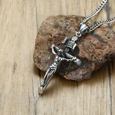 Necklace Stainless Steel Prayer Gift Vintage Crucifixion Jesus Cross Men Pendant