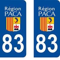 Département 83 sticker 2 autocollants style immatriculation AUTO PLAQUE