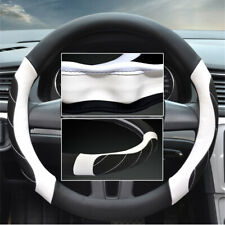 Microfiber Leather Steering Wheel Cover Black w/ white Stitching Sport Grip 15""