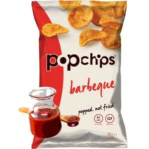 POPCHIPS not Fried| Barbeque Popped Potato Healthy Crisps 23g x24| FREE DELIVERY